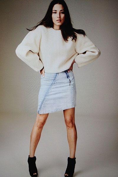 """A day at work. Shooting David Jones trends. I'm loving my denim Willow skirt, Elbert sweater and Fendi booties."""