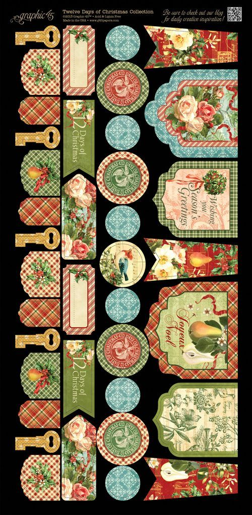 Graphic 45 Tweleve Days of Christmas Cardstock embellishment sneak peek CHA Summer 2013
