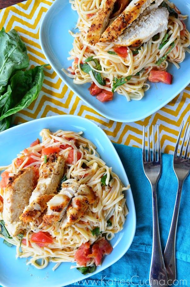 Lemon Bruschetta Pasta with Grilled Chicken.  Nice and light.  The grilled season has great flavor and goes well with the light lemon & tomato pasta.