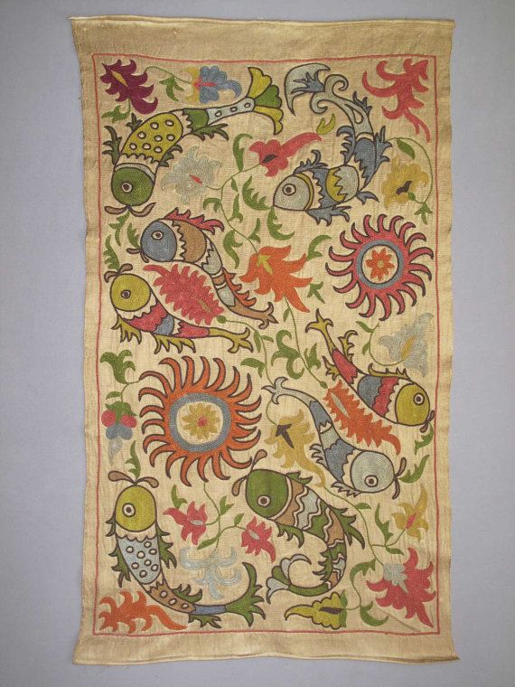 SALE Uzbek silk handmade embroidery small blossoms suzani fishes in a pond