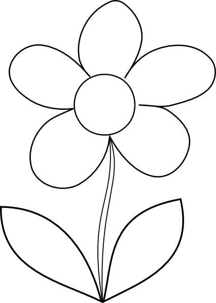 Flower Outline Coloring Pages | This coloring page for kids features the outline of a simple flower ...