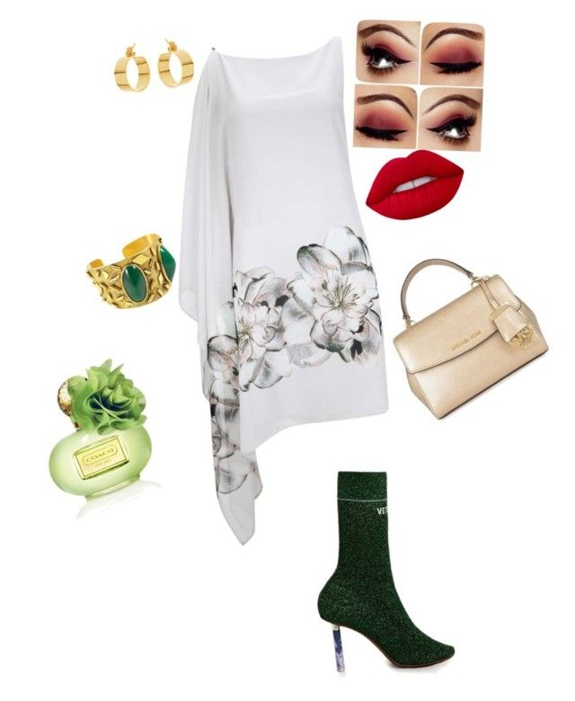 """Green"" by jangiraldo on Polyvore featuring moda, Vetements, House of Lavande, Lana, Lime Crime, MICHAEL Michael Kors y Coach"