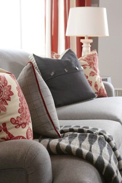 5 Inspiring Ideas from Sarah's House - The Inspired Room - grey, cream and red create a relaxing living room #designideas #color