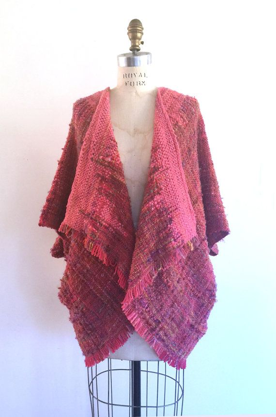 SAORI handwoven poncho Silk/Merino by LoopoftheLoom on Etsy