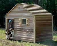 Cedar Dog House for Large Dogs, Air Conditioned Insulated Wooden Doghouse Duplex and Outdoor Cats House