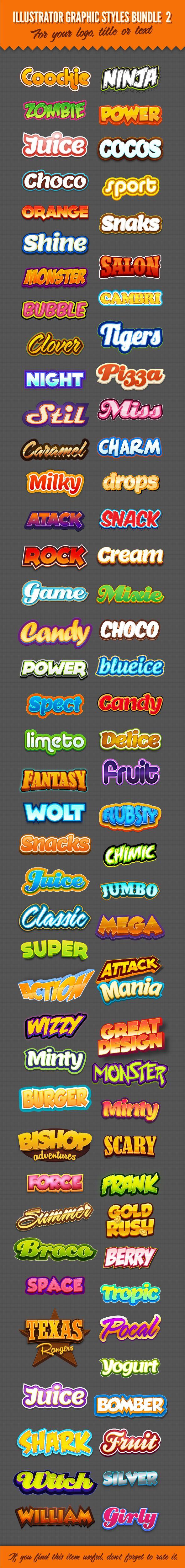 Illustrator Logo Graphic Text Styles Bundle For Adobe Illustrator #design #ai Download: http://graphicriver.net/item/illustrator-logo-graphic-styles-bundle-2/9523253?ref=ksioks