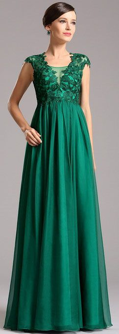 Empire waistline lace bodice green evening dress! This green dress for mother will be great. It suits plus size mothers too.