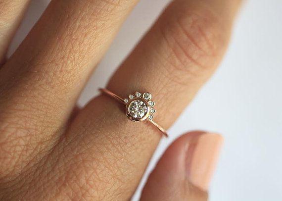 Round Diamond Engagement Ring, Crown Diamond Ring, Diamond Crown Ring, Dainty Diamond Engagemen Ring