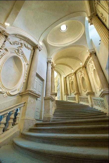 A Beautiful Stairway Palazzo Carignano - Turin, Italy - Baroque architect Guarino Guarini 1679