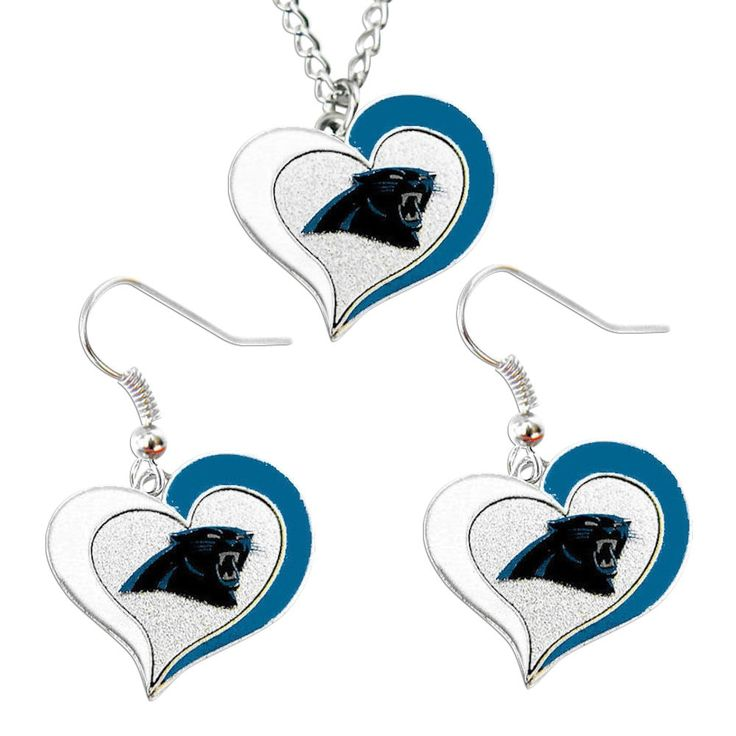 Aminco NFL Carolina Panthers Swirl Heart Necklace and Earring Set Charm Gift