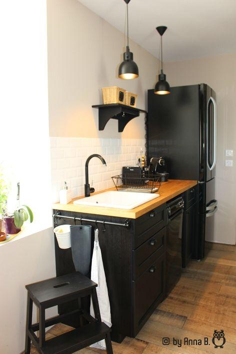 cuisine noire et bois le dbord du plan est un peu trop large jaime - Cuisine Noir Et Bois