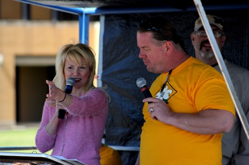 Deanna Wheeler with Lake News Online judging the Camdenton Dogwood Festival Parade. Photo by Bill Benson