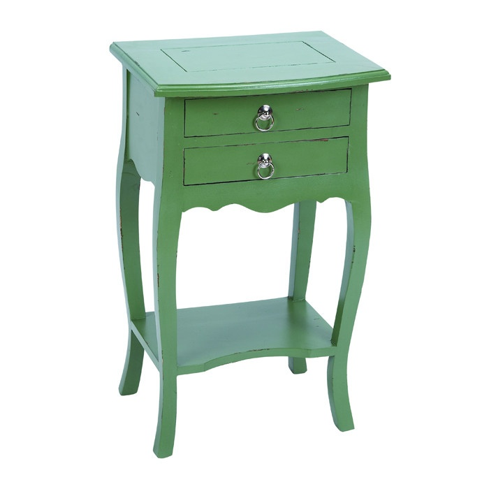 Green bedside table.