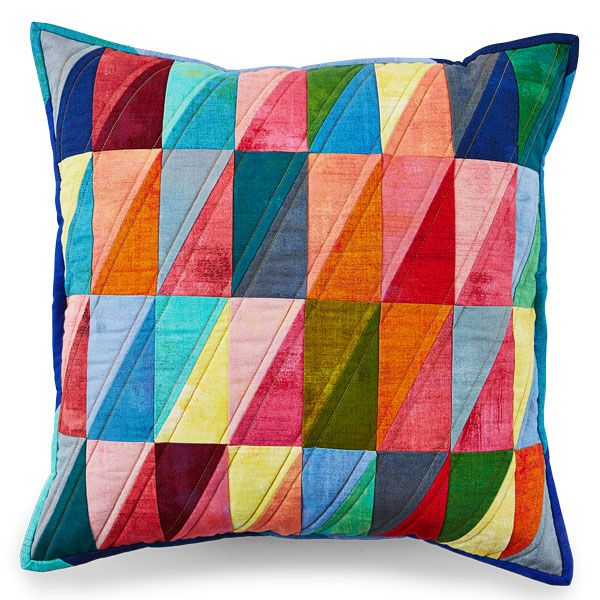 Make fun pillows using a half-rectangle block and colorful fabrics. Projects in Spring