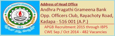 APGB headquarter is located in Kadapa (also know by Cuddapah) district in the state of Andhra Pradesh. The bank has announced & published the recruitment project 2015 at bank's website for those candidates who have a Indian citizenship & also appeared the IBPS (Indian Banking Personal Selection) CWE (Common Written Examination) Sep / Oct 2014 for RRBs (Regional Rural Banks) & declared qualified - See more at: http://www.recruitpapa.com/2014/12/andhra-pragathi-grameena-bank.html