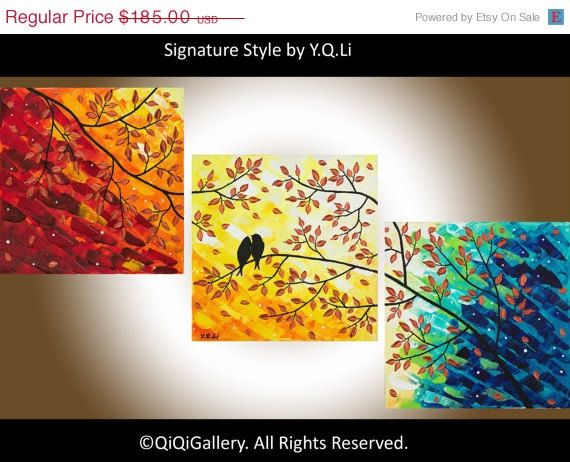 """36"""" Abstract Painting Original Impasto landscape painting Tree Love Birds Canvas Painting """"Autumn Romance"""" By qiqigallery"""