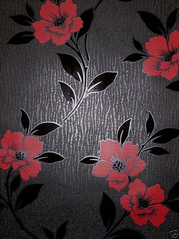 DESIGNER FEATURE WALL WALLPAPER BLACK U0026 RED FLOWERS GRACE 13901 In Home,  Furniture U0026 DIY · Feature WallpaperVinyl WallpaperLiving Room ... Part 30