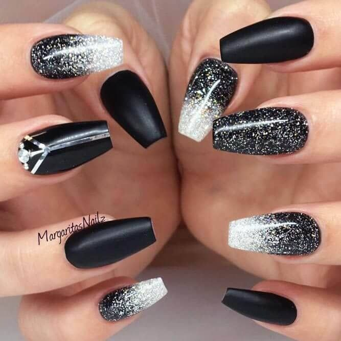 50 Dramatic Black Acrylic Nail Designs To Keep Your Style On Point Black Acrylic Nail Designs Ombre Nails Glitter Coffin Nails Designs