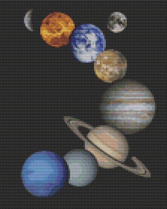 Counted Cross Stitch PATTERN  Solar System by TheArtofCrossStitch, $8.99