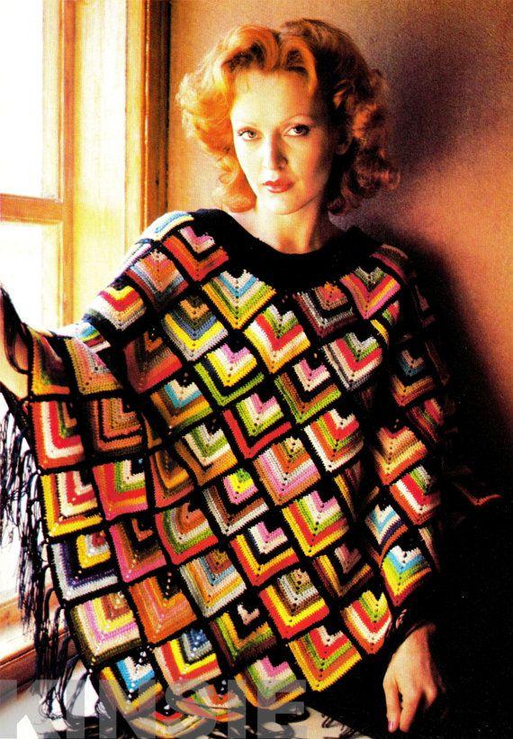 Vintage 70s Crochet PONCHO  PDF Pattern by KinsieWoolShop on Etsy, $3.20