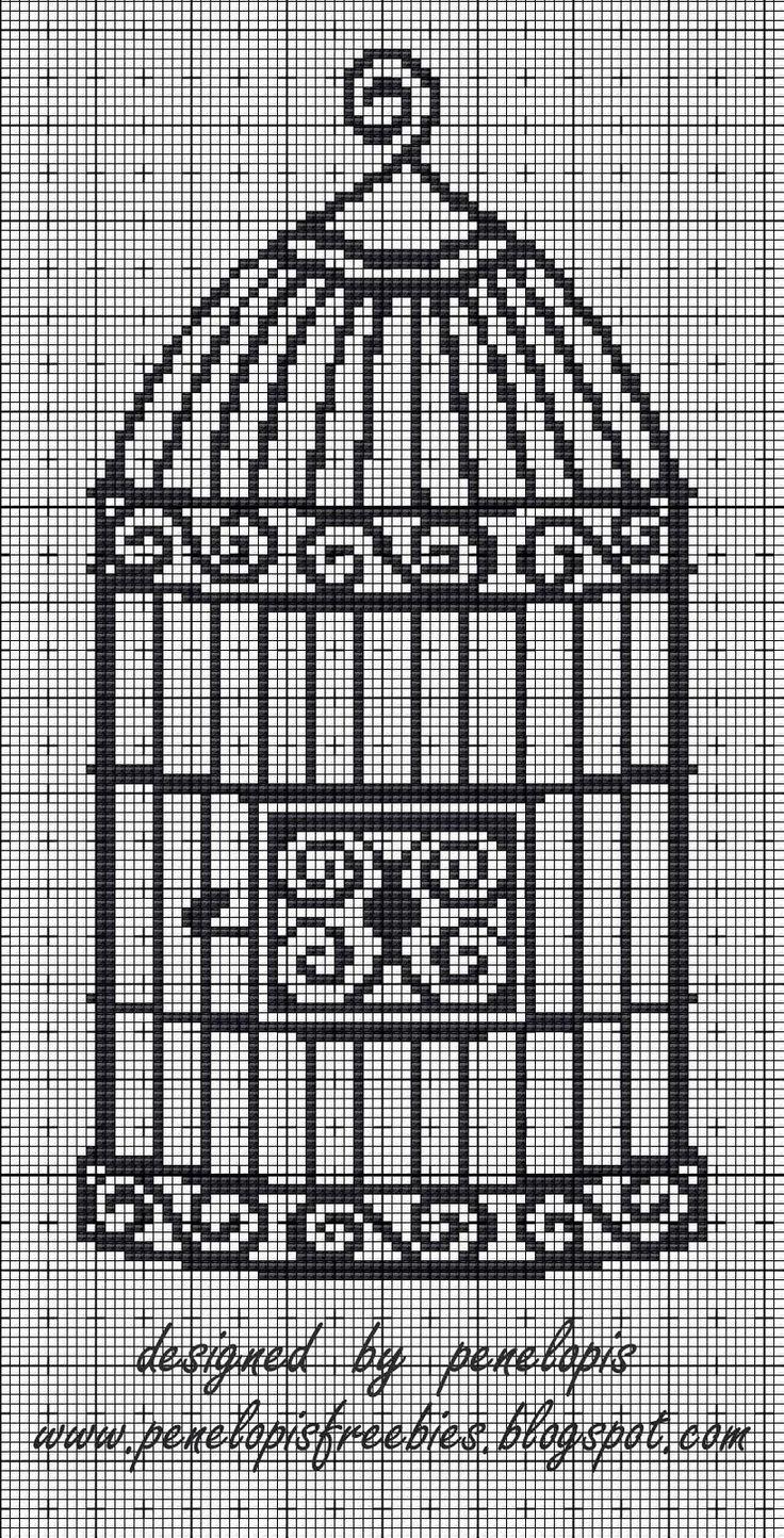 Penelopis' cross stitch freebies: Klatka/ The cage
