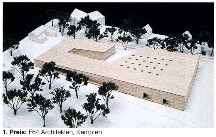 Neubau einer Werkstatt für behinderte Menschen mit 120 Plätzen am Mühlbach in Sonthofen - ein skulptural ausgeformter Holzbaukörper www.f64architekten.de