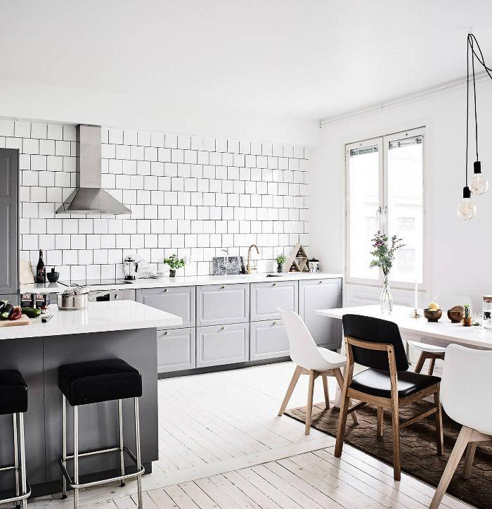 grey and white kitchen - wood floor