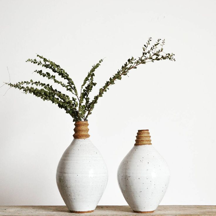 Elegant Sculptural Vase Gloss White Body With A Raw Zig Zag Neck Approx X  Each Unique Fired To Cone 10 In Gas Kilns Hand Thrown .