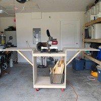DIY Miter Saw Cart using Ana White plans - The DIY Girl