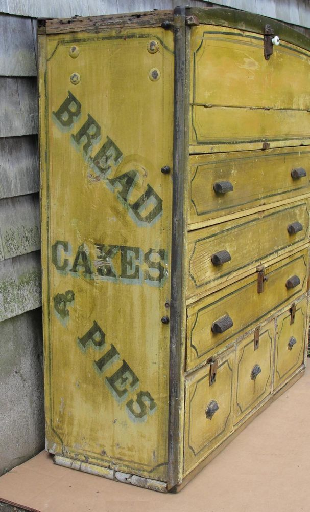 36.5in wide x 38.5in high x 14in deep. Antique Primitive Folk Art Advertising Bakers Bread Wagon Cupboard Painted Sign #WhiteBrown