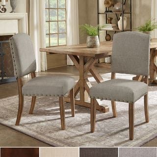 Shop For Benchwright Premium Nailhead Upholstered Dining Chairs Set Of 2 By INSPIRE Q
