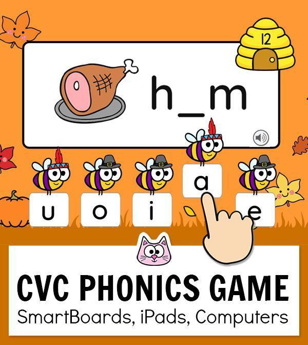 Cvc Words Game For Beginning Sounds Middle Ending Sounds Distance Learning Phonics Games Classroom Games Kindergarten Games Phonics online games for kindergarten