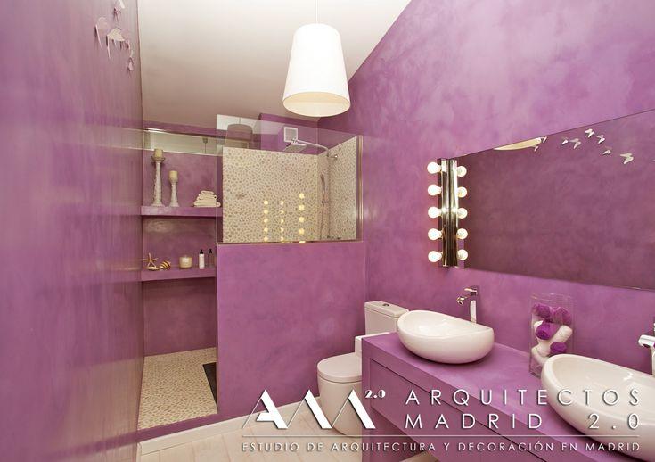 decorar con microcemento baños niñas color rosa