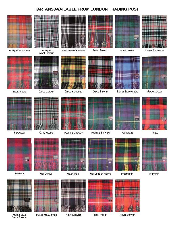 Tartans Available from the London Trading Post (including Blackwatch, the Clan Grant Hunting Tartan)