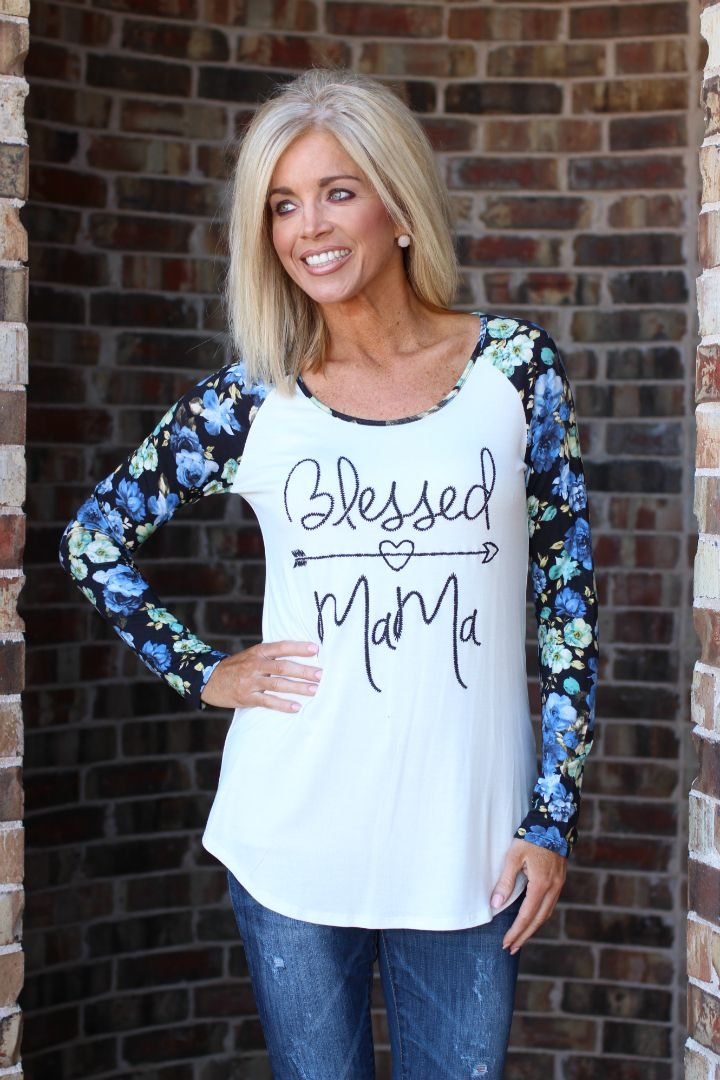 One Faith Boutique - Blessed Mama Raglan With Floral Sleeves ~ Blue ~ Sizes 4-10, $34.00 (https://www.onefaithboutique.com/new-arrivals/blessed-mama-raglan-with-floral-sleeves-blue-sizes-4-10/)