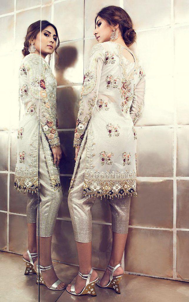 White Gorgette Pakistani Suit