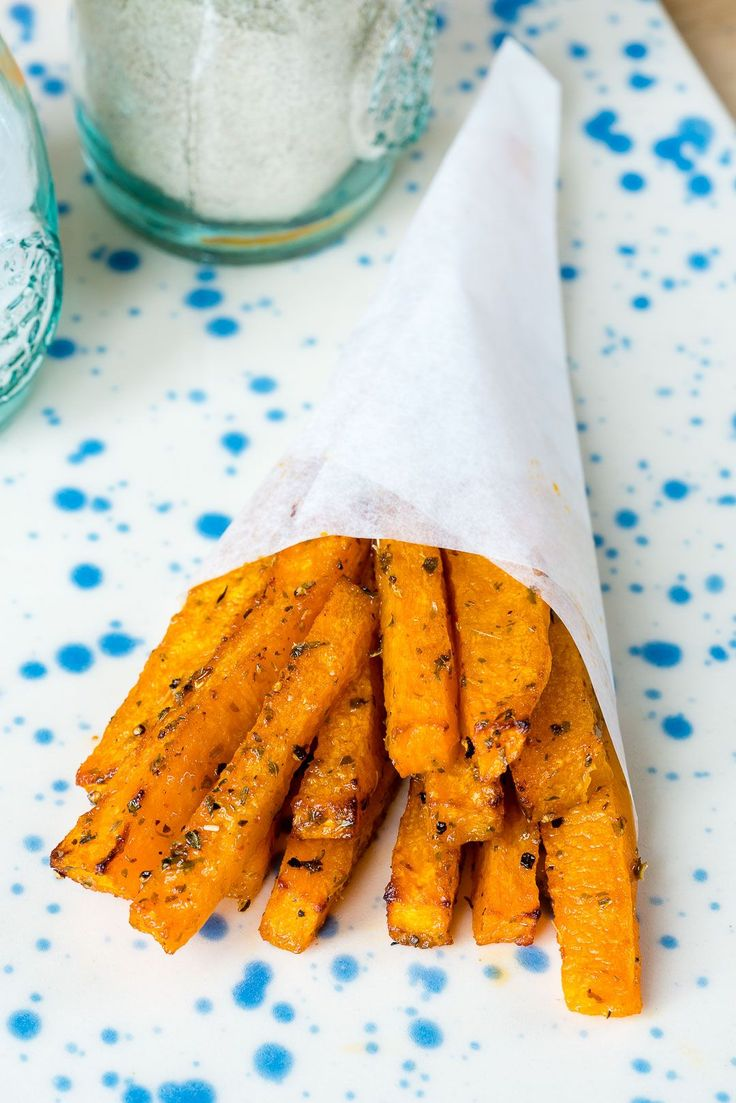 Healthy Baked Butternut Squash Fries - butternut squash, avocado/coconut/virgin olive oil, garlic powder, smoked paprika, dried thyme, sea salt, black pepper