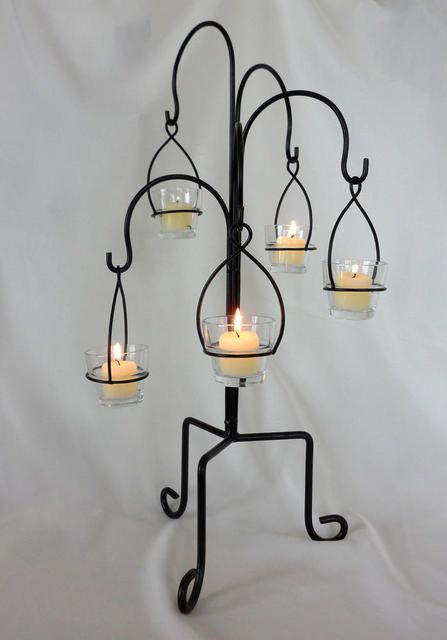 New hanging votive candle stand elite events rental for Hanging candles diy