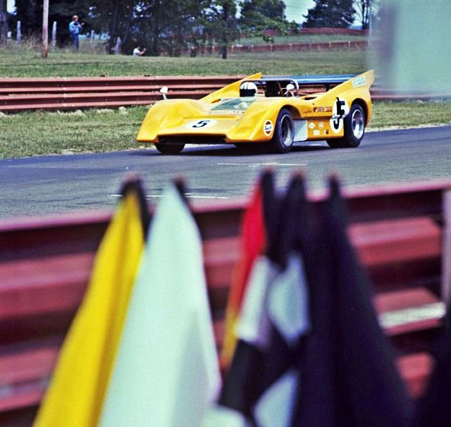 Denny Hulme unleashing all 670 'neddies' of his McLaren M8D Chev at Mid Ohio in August 1970…