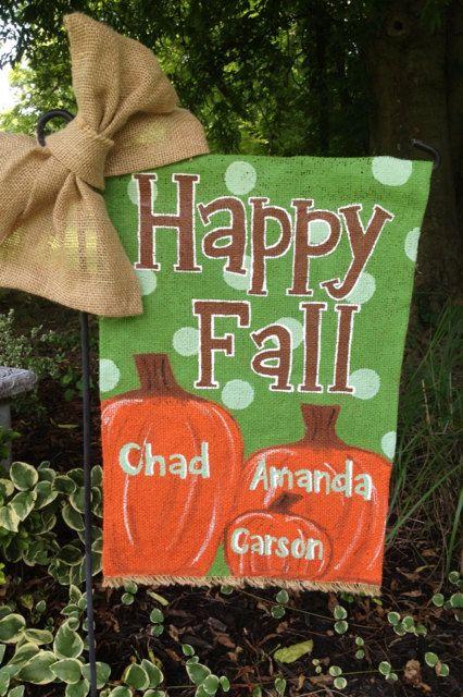 Monogrammed Pumpkin Family Happy Fall Burlap Garden Flag