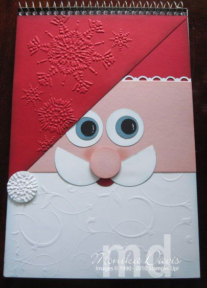 By Monkia Davis. She made a notebook cover, but this could be a card front. Pieces cut or punched with edges sponged. Beard, hat triangle, and pom-pom dry embossed. Could dry emboss the mustache also. More details on website.