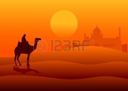 Illustrazione silhouette di un arabo a cavallo di un cammello nel deserto con l'architettura medio oriente in lontananza Archivio Fotografico