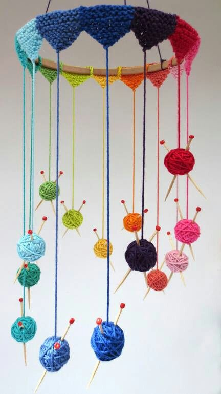 """Creative Knitting Project - Knit Mobile - cute but I would constantly be panicking over the """"needles"""""""