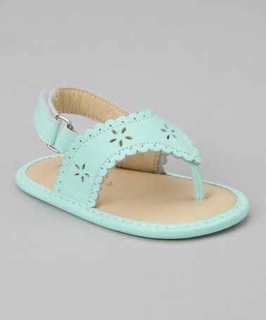 Another great find on #zulily! Mint Green Scalloped Eyelet Sandal #zulilyfinds