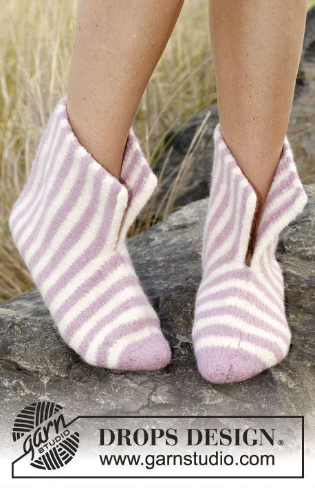 "Free pattern: Felted DROPS slippers in ""Nepal"". ~ #DROPSDesign #Garnstudio #FeltingFever"