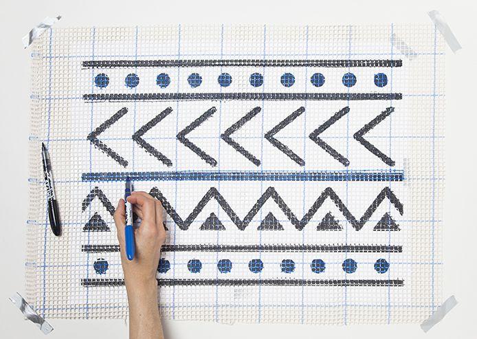 Mud Cloth inspired DIY latch hook rug by Jessica Marquez for Design Sponge
