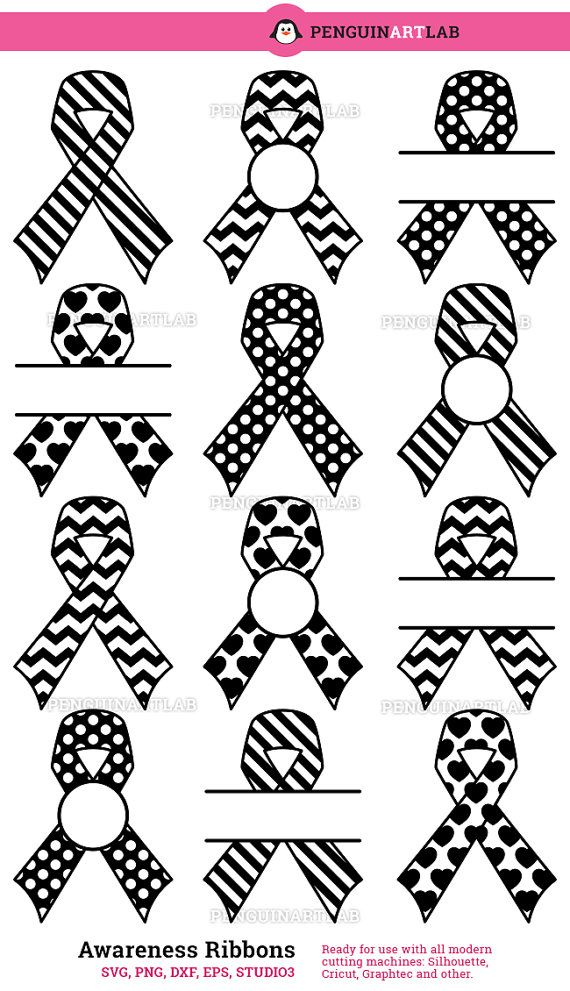 Cutting Files Pack: Awareness Ribbons SVG Cut Files.  SPECI★LLY DESIGNED FOR CRICUT AND SILHOUETTE STUDIO Learn more about our easy-to-cut images: http://etsy.me/1Hgfy6h  This original pack contains 12 Patterned Awareness Ribbon files that will be cut smoothly and cleanly, unlike auto-traced files. Professionally designed artwork for use with modern cutting machines for small craft projects, stickers, decals and other. This pack is ready to use with Cricut Design Space, Silhoue...