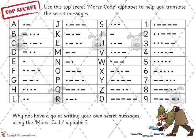 Morse Code Alphabet Worksheets Teacher S Pet Morse