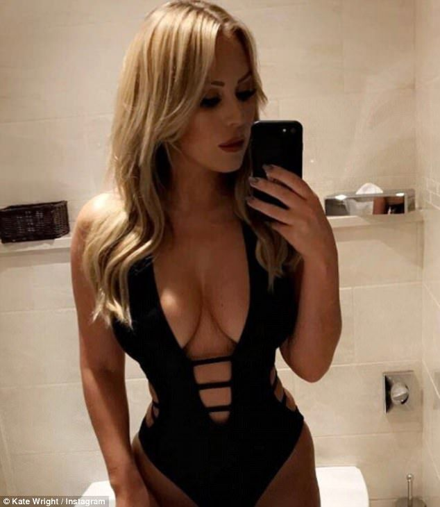Attention! Kate Wright, 25, ensured all eyes were well and truly on her as she showed off her cleavage in the ribcage swimsuit on Instagram  on Monday