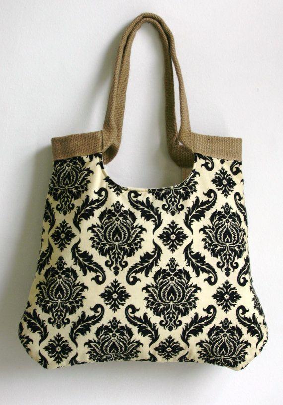 Burlap tote bag with Damask fabric